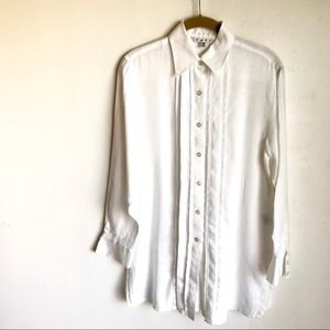Cabi Blouse Buttons Pleated Front Semi Sheer